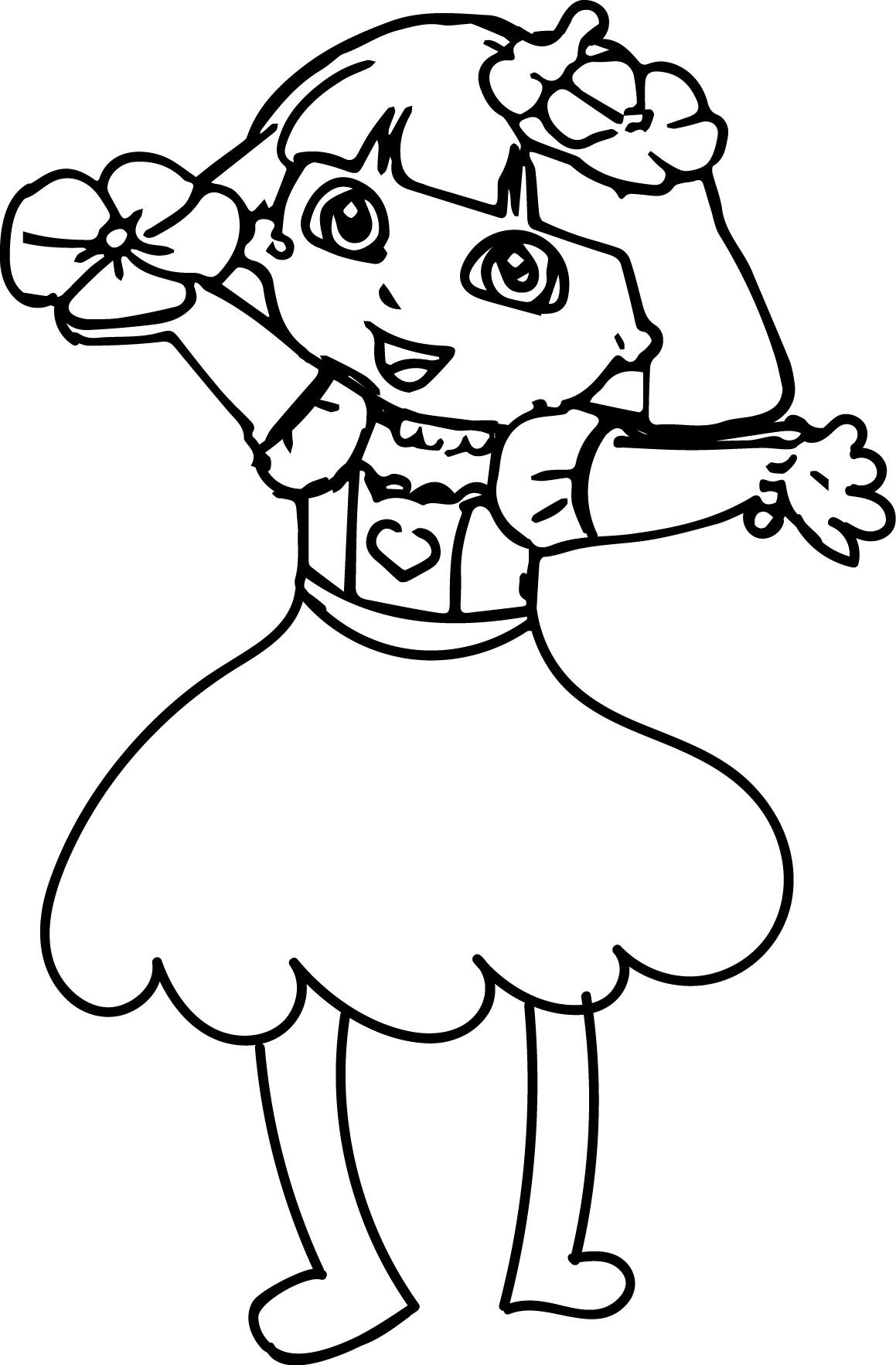 Nice Dora Makeover Med Happy Flower Coloring Page