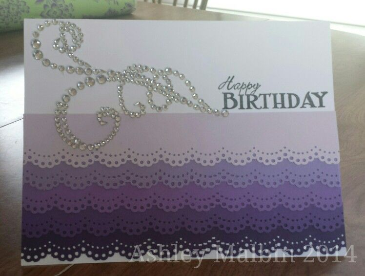 Purple ombre birthday card by Ashley