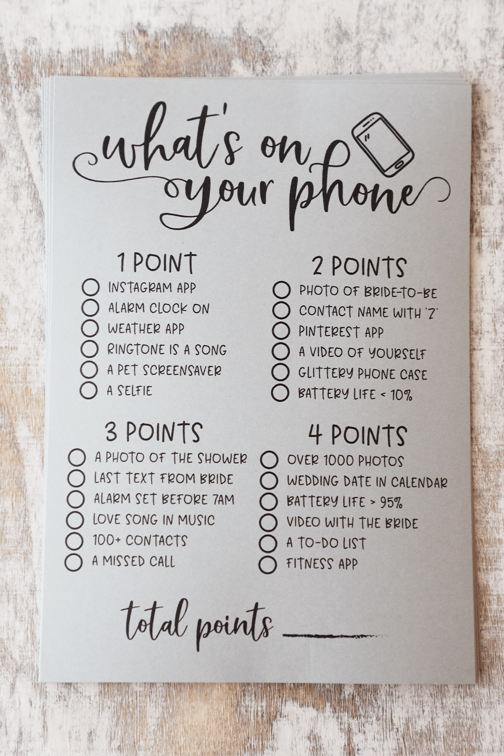 Grey What's On Your Phone Bridal Shower Game. Rustic Grey Bridal Shower Game. What's On Your Phone. Bridal Shower What's On Your Phone Game.