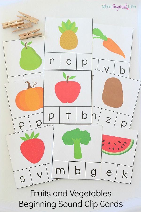 Fruits and Vegetables Beginning Sound Clip Cards   Fun ...