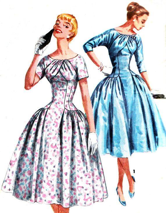 1950s Dress Pattern Simplicity 1537 Womens Drop by paneenjerez