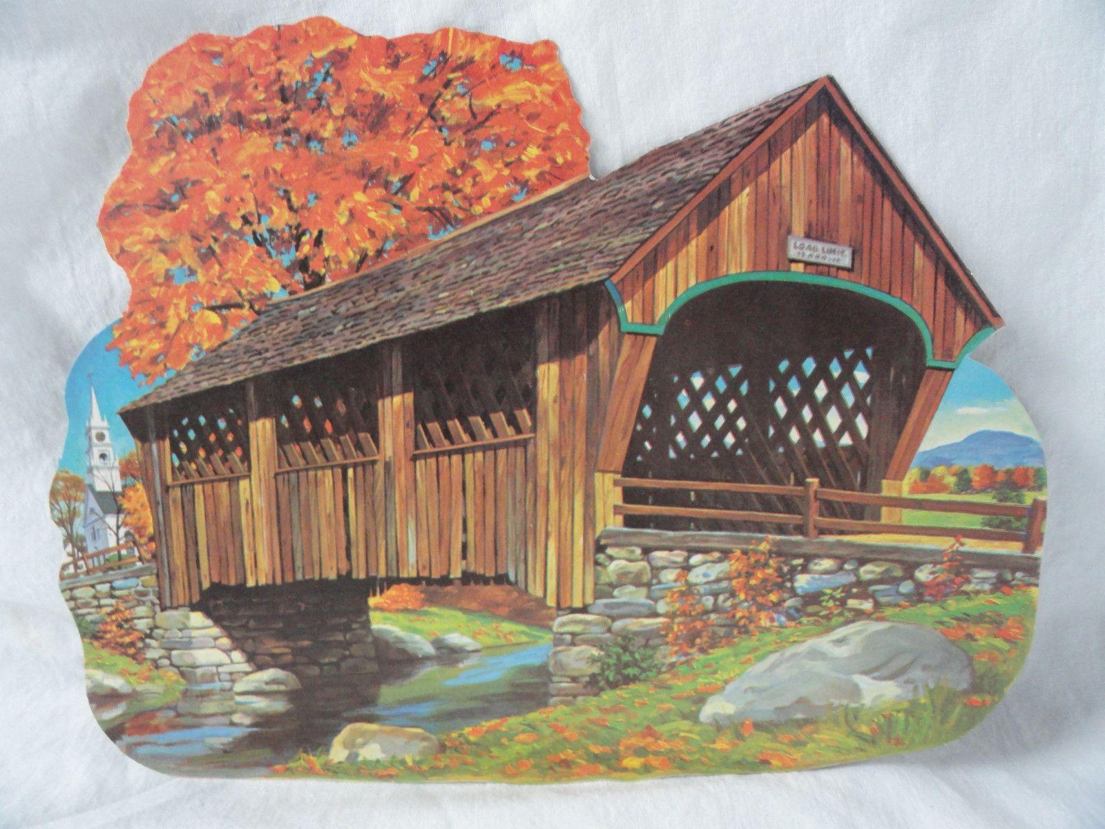 "1969 Dennison 'Covered Bridge' Die Cut Decoration. Two Sizes: 10 3/4"", 16"""