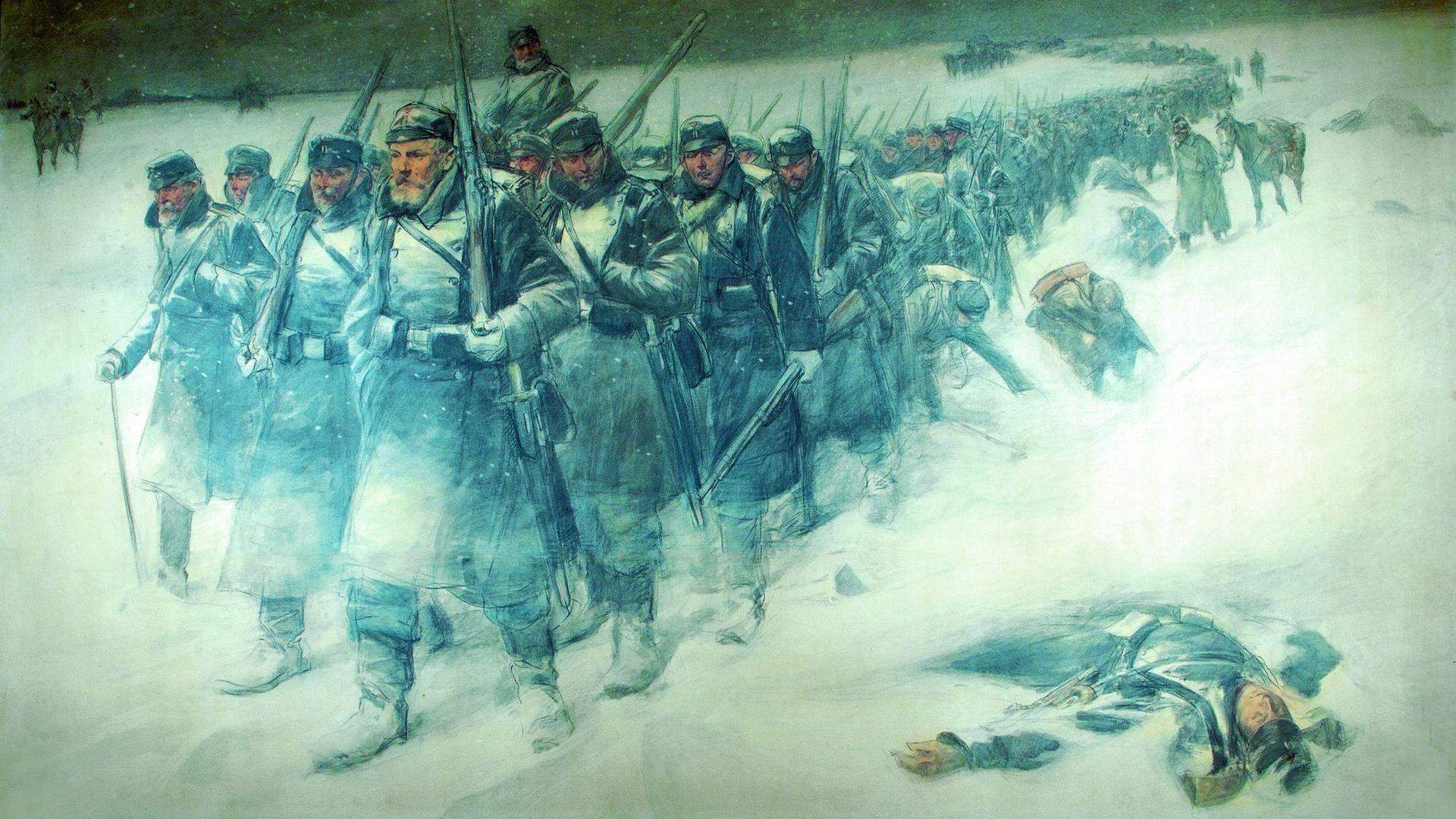 2. Slesvigske Krig - Danske infanterister under tilbagetoget fra Dannevirke natten mellem den 5 ...
