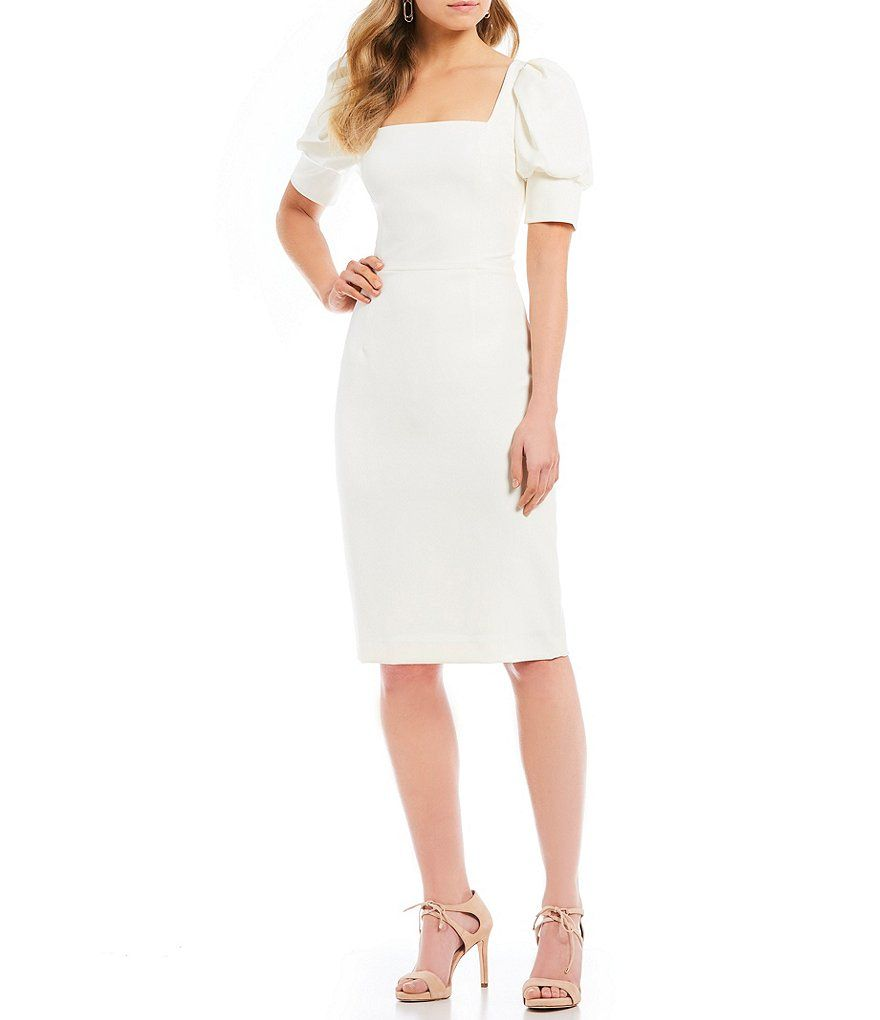 4362c2c8ac9 Antonio Melani Theresa Stretch Crepe Square Neck Puff Sleeve Midi Length Sheath  Dress