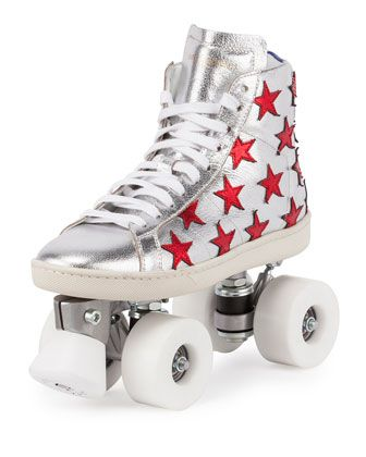 Shazaam! Saint Laurent Court Classic Hi Top Sneaker Roller Skates skating silver red stars