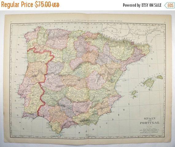 Large Map Spain Portugal Map Original Antique Spain Map - Large map of spain
