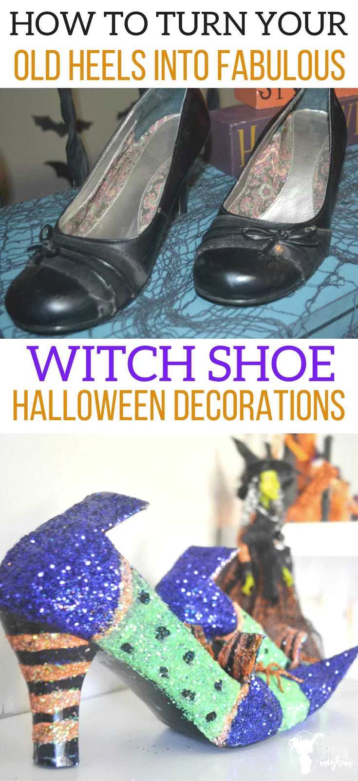 Diy Witch Shoes That Are Wickedly Cute For Halloween Uplifting Mayhem In 2020 Witch Shoes Witch Diy Pumpkin Halloween Decorations