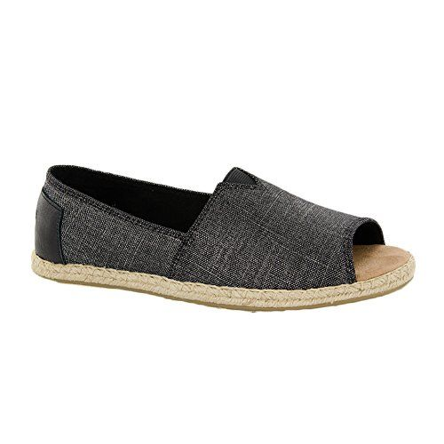 8df5907d744 TOMS Women s Alpargata Open Toe Black Metallic Linen Flat 7 B (M)   Click  image to review more details.