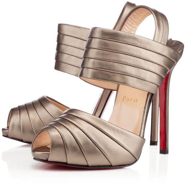 Christian Louboutin Arlettina ($895) ❤ liked on Polyvore featuring shoes, sandals, heels, scarpe, bronze, fall/winter 13, platform heel sandals, heeled sandals, leather strap sandals and strappy platform sandals