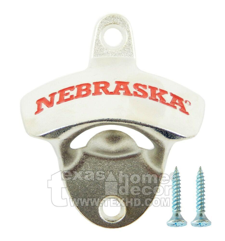 Nebraska Cornhuskers Beer Bottle Opener Wall Mount Zinc Alloy NCAA Licensed