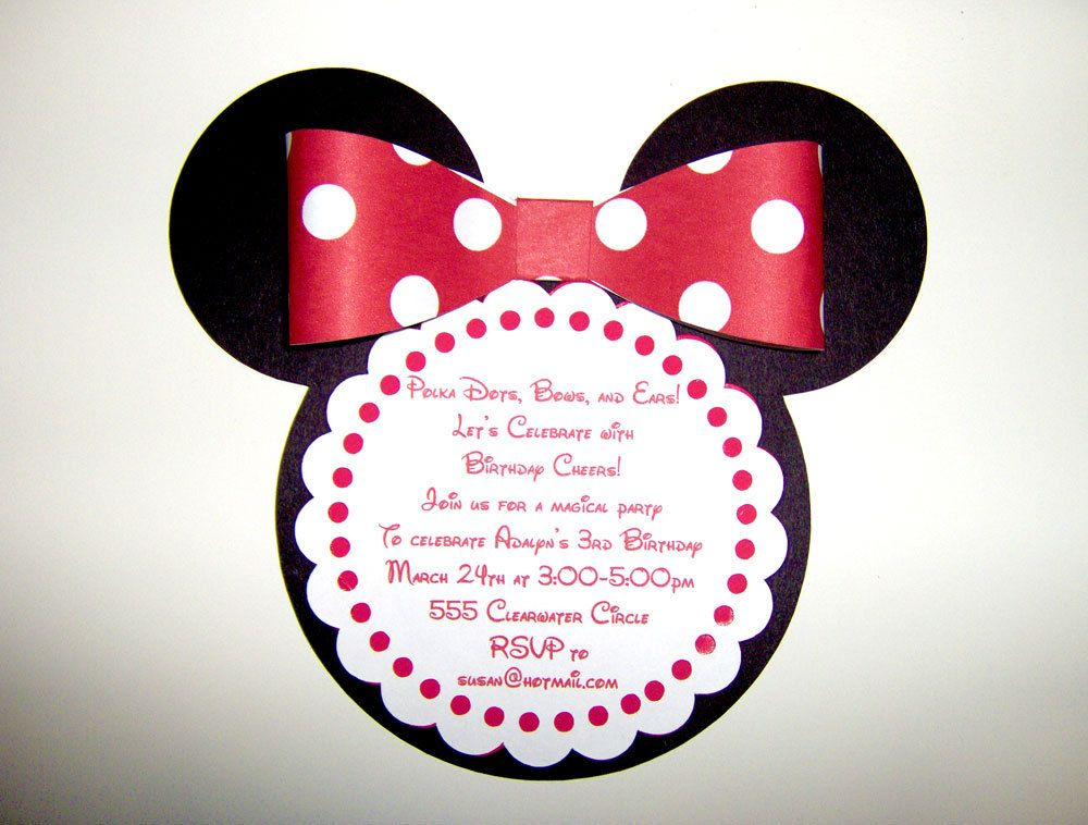 MInnie Mouse Die Cut Invitation Cumples Kids Pinterest