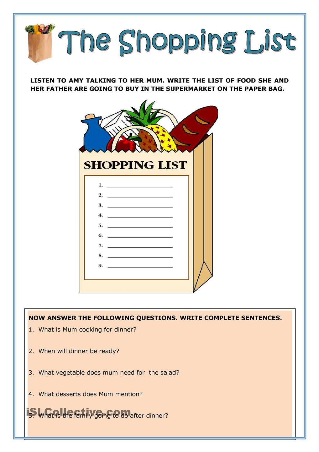 The Shopping List Reading Reading Worksheets Worksheets Free Writing Complete Sentences