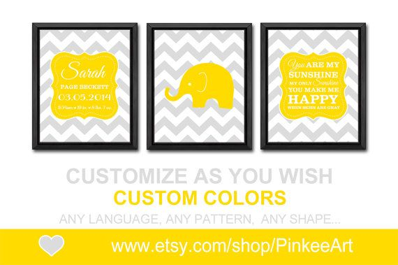 personalized baby stats yellow grey baby wall decor custom baby ...
