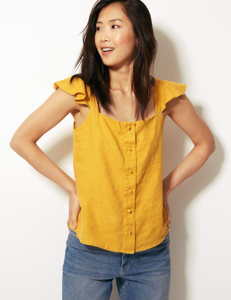 4fb6c1feea Pure Linen Short Sleeve Camisole Top in 2019 | Summer | Linen shorts ...