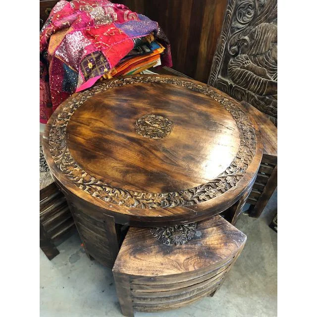 Antique Brown Floral Hand Carved Round Coffee Table With Chairs
