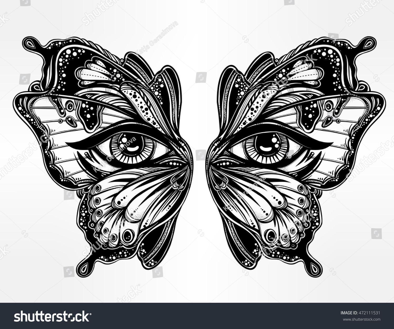 Beautiful Butterfly Wings Mask With Eyes In Retro Flash Tattoo Style Fantasy Spirituality Occu Olhos De Borboleta Desenhos Tatuagens Borboleta Tatuagem Olho