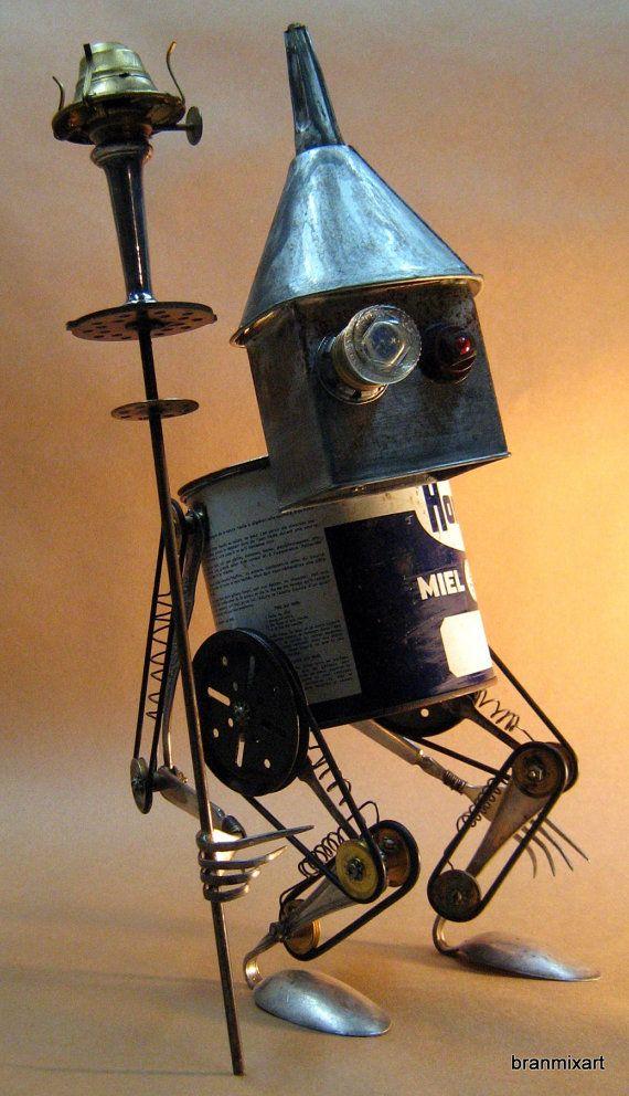 Upcycled RUSTY ROBOT SCULPTURE Prometheus Greek by BranMixArt