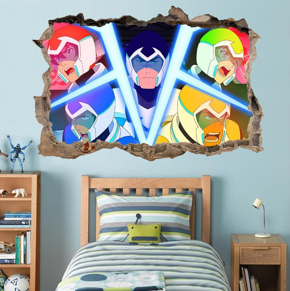 voltron 3d smashed wall sticker decal home decor art mural on wall stickers for home id=33088