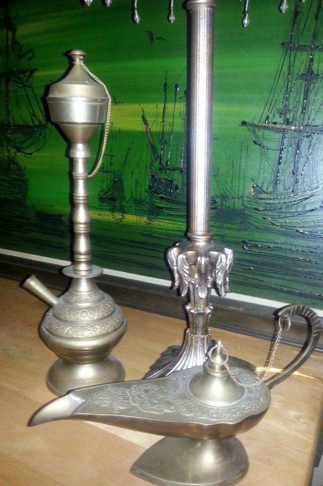 Rare Vintage Brass Alladin Genie Lamp and Hookah Set