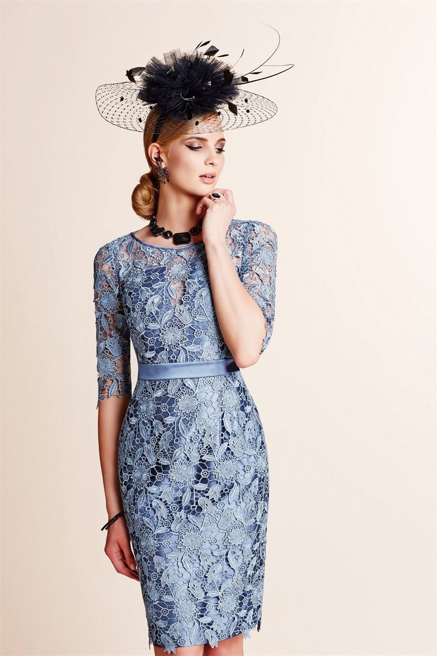 0453d9980cb9 Mother of the Bride Outfits/Dress Rose Blue Lace/Satin Knee Length |  Standard Size and Plus Size