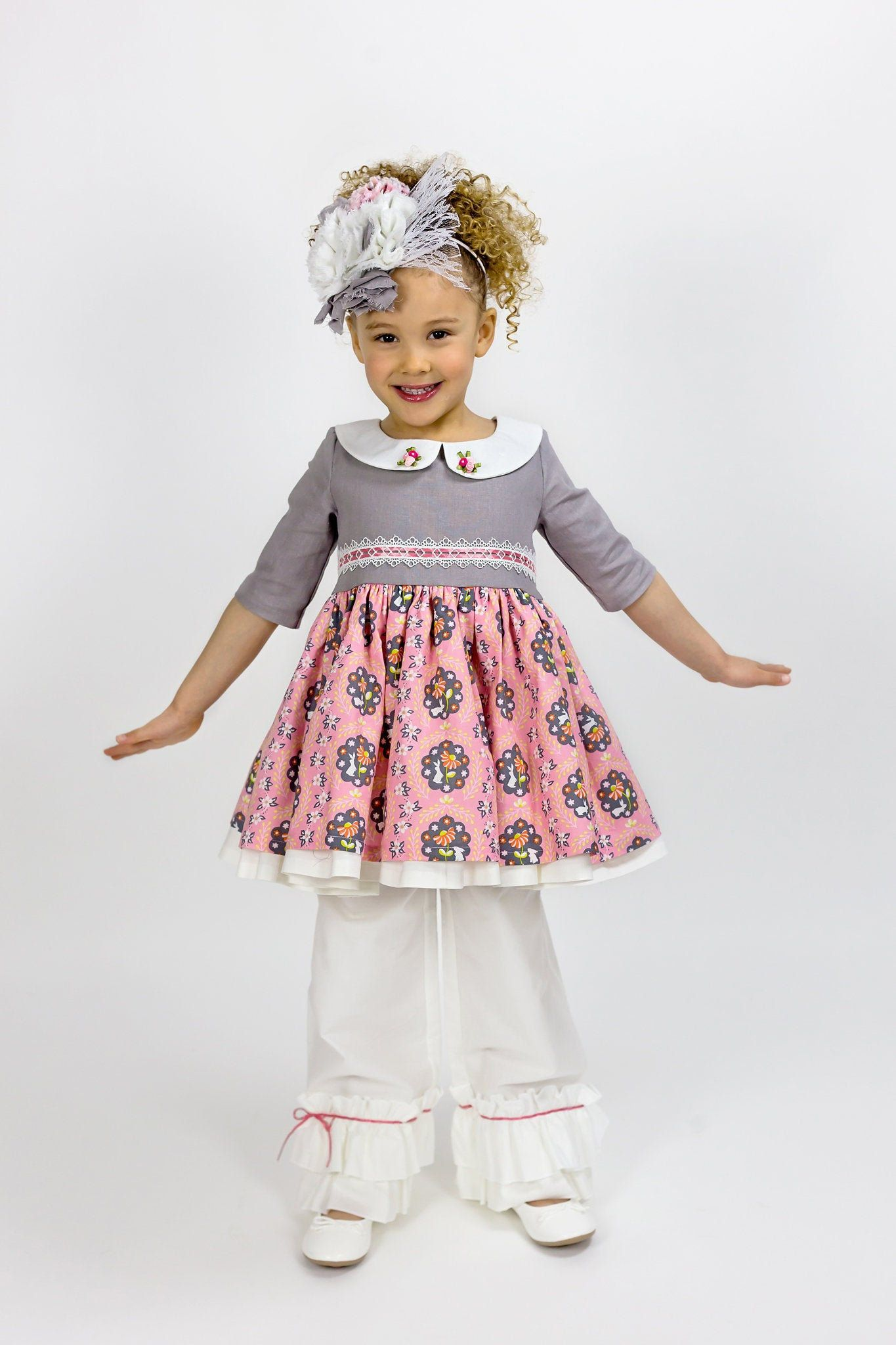 Photo of Pink Bunny Easter Dress for Girls, Peter Pan Collar, Linen and Cotton, Photo Shoots, Toddlers, Baby Girls, 1st Easter, Newborn to 10 years
