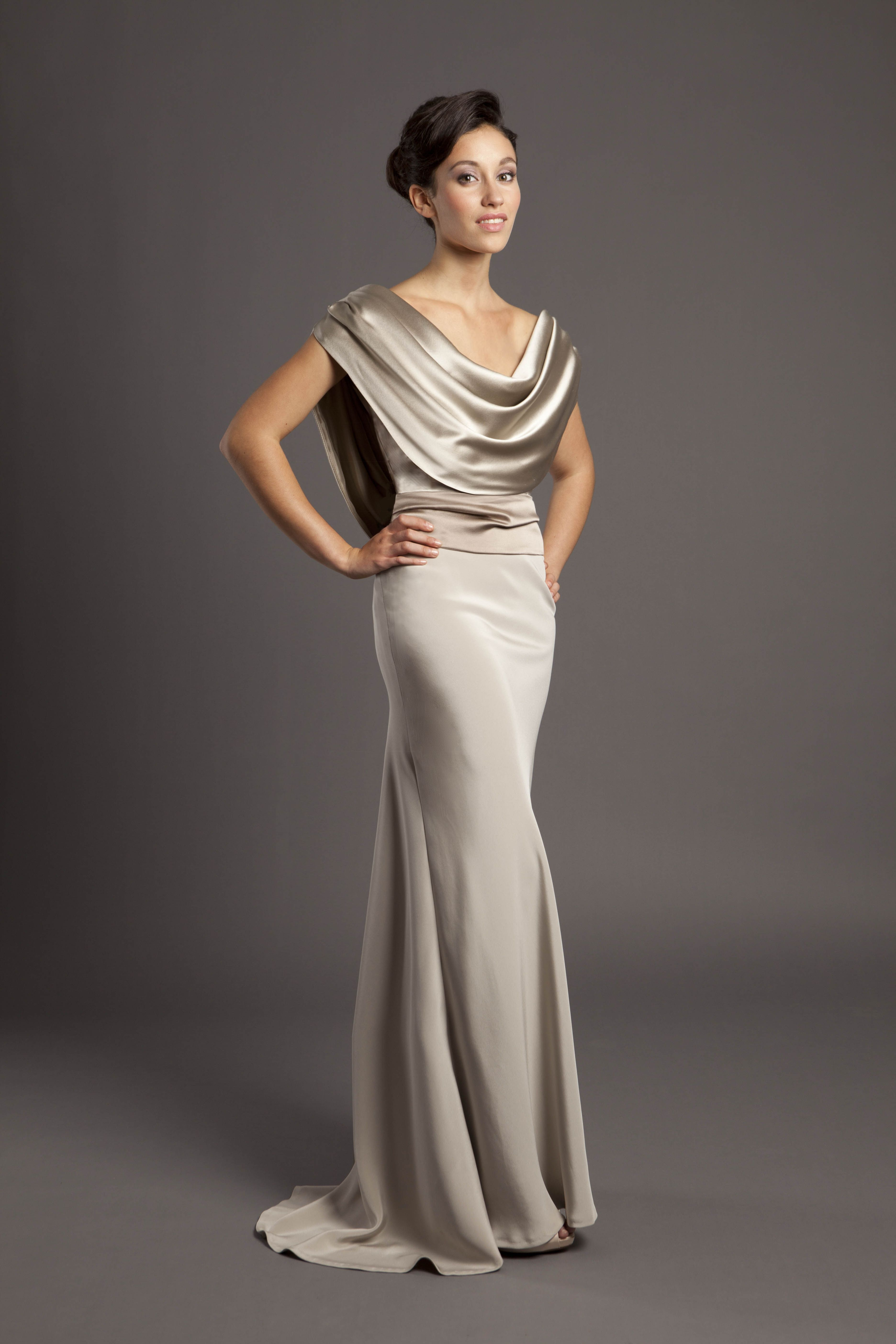 Cowl drape bias cut gown in champagne taupe crepe back for Satin cowl neck wedding dress