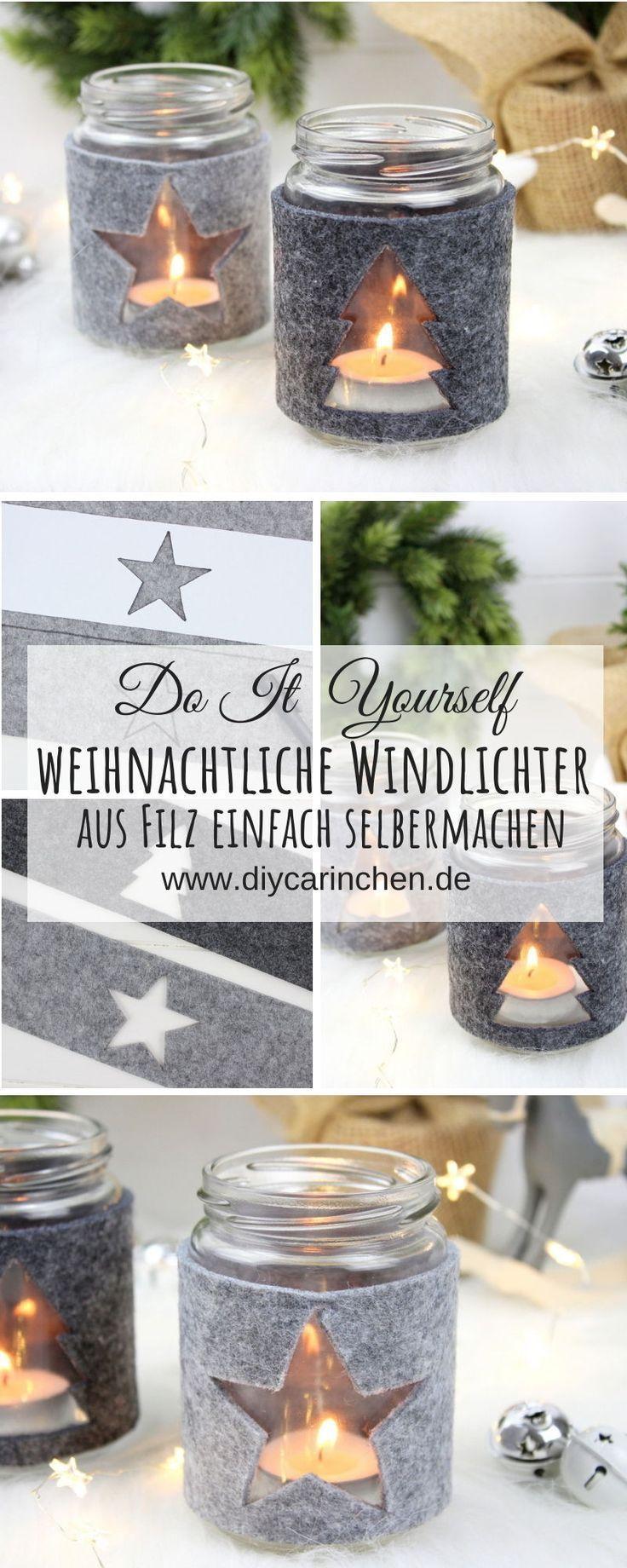 Photo of DIY weihnachtliche Windlichter mit Filz Stern und Tannenbaum