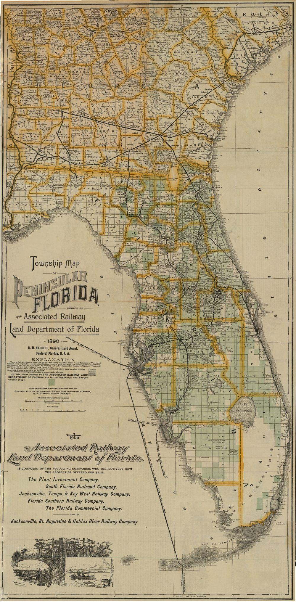 South Florida County Map.1890 Florida Memory Township Map Of Florida 1890 Georgetown