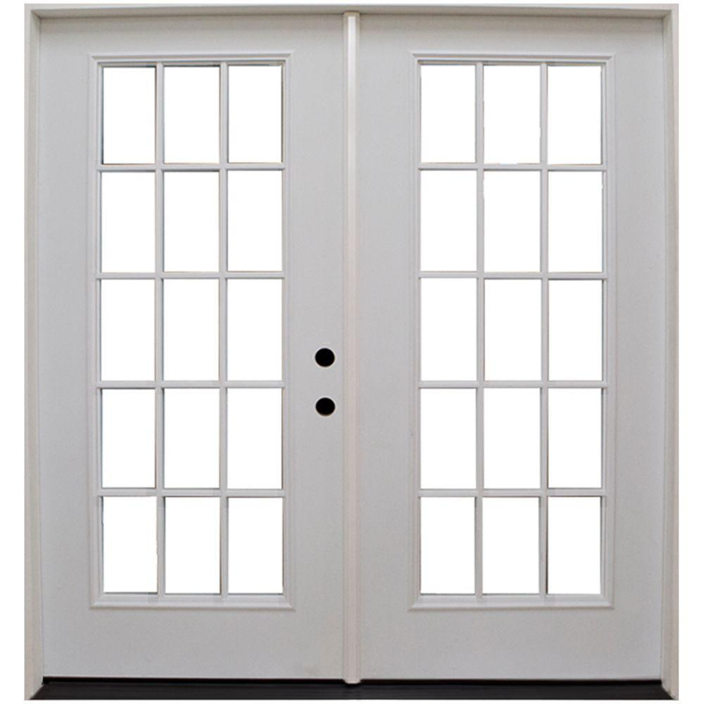 Steves Sons 72 In X 80 In Premium Left Hand 15 Lite Grille Between Glass Low E Primed White Fiberglass Patio Door Smfffc7280li The Home Depot Steel Patio Doors Fiberglass Patio Doors Patio