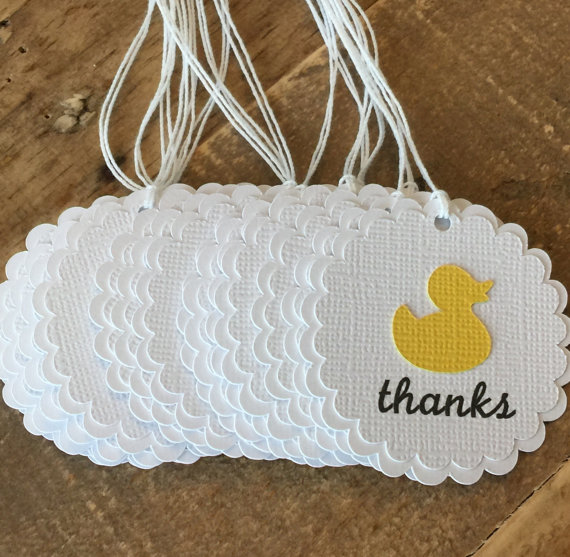 Rubber Duck Baby Shower Thank You Tags, Yellow Baby Shower Favor Tags,  Rubber Ducky