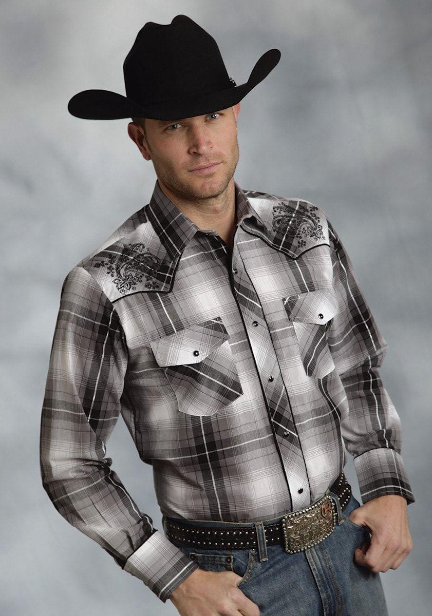 Roper Mens Black Cotton Blend L/S Embroidered Silver Lurex Western Shirt