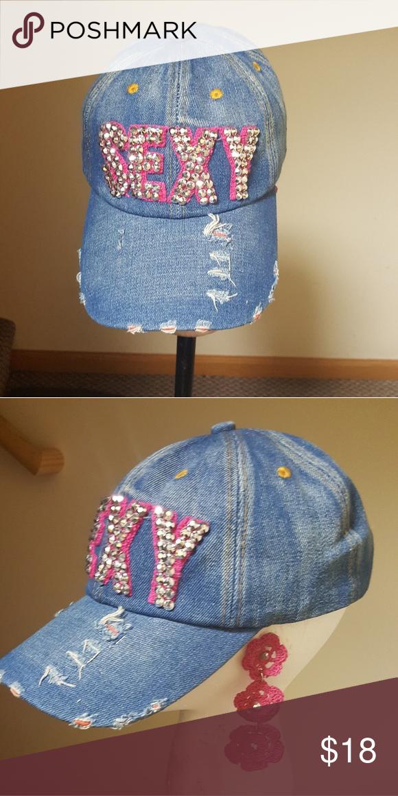 ef5470509 Ladies Denim Rhinestone Sexy Cap Ladies Denim Adjustable Cap Accessories  Hats