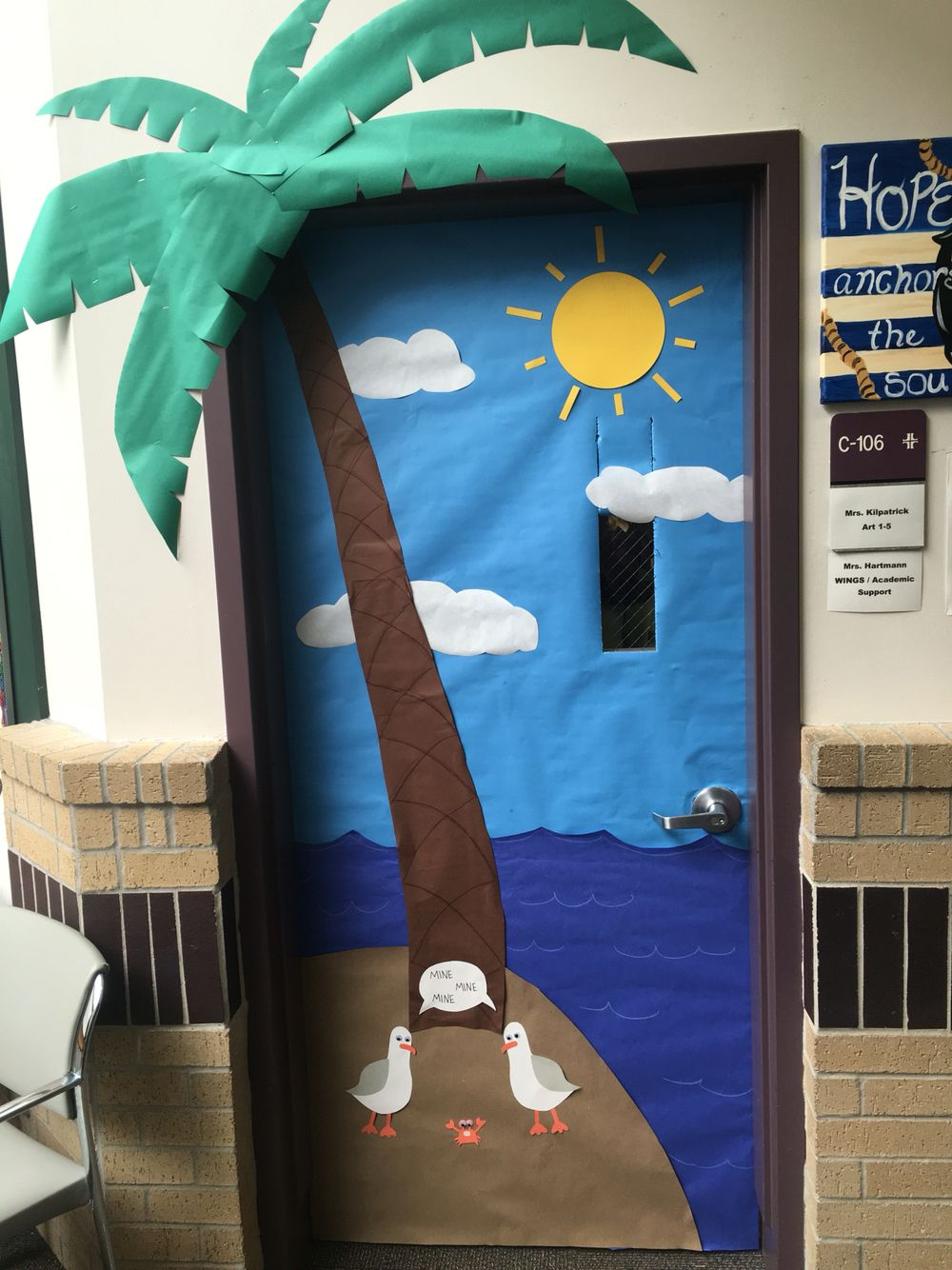 Summer/end of the year door decoration complete with palm ...