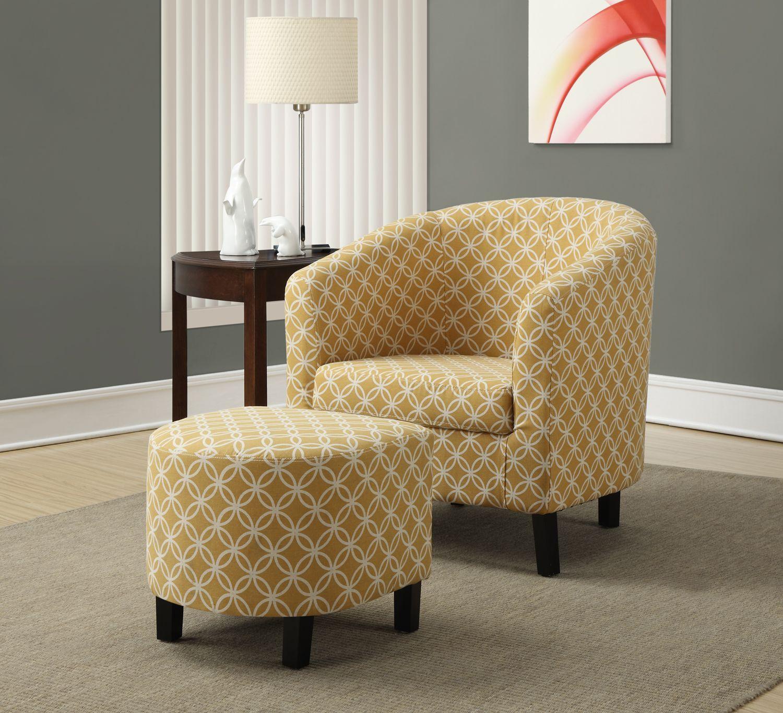Fauteuil d appoint rond avec pouf de couleur jaune foncé salon