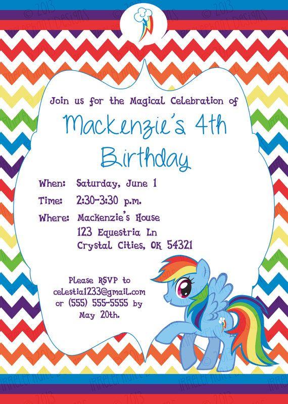Custom Personalized Rainbow Dash My Little Pony Birthday Invitation On Etsy 800