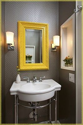 yellow and grey bathroom mirror love this color scheme/mirror/lights for the bathroom - it