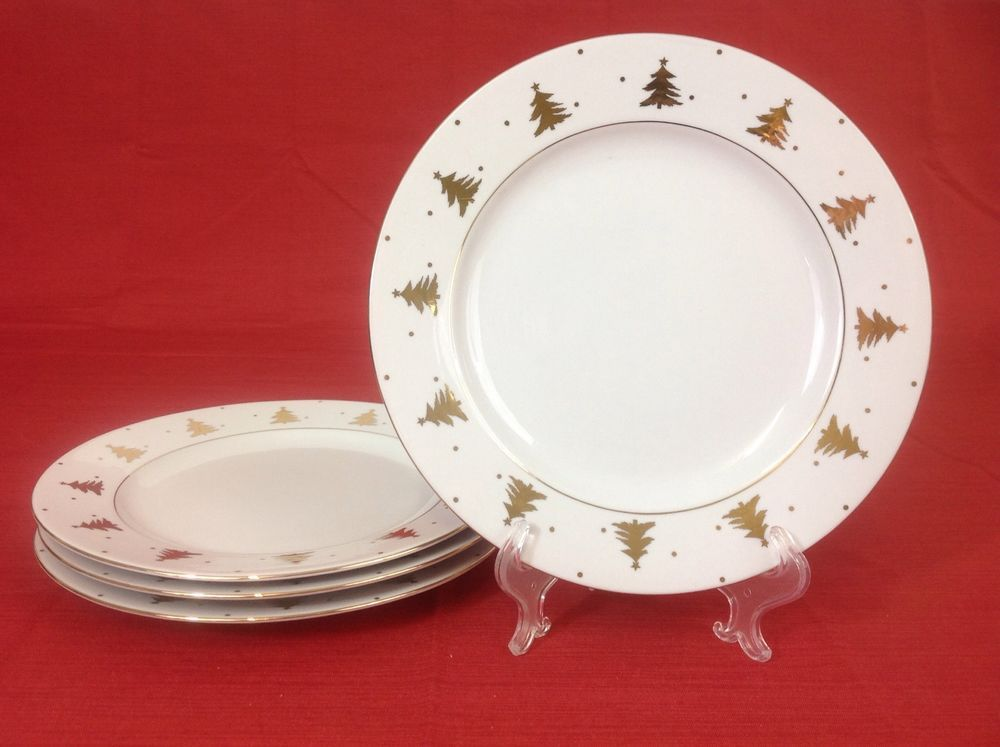 Tienshan Golden Pines FOUR 10 1/8 Inch Dinner Plates Gold Christmas Trees & Tienshan Golden Pines FOUR 10 1/8 Inch Dinner Plates Gold Christmas ...