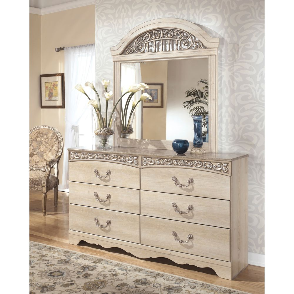 Bring traditional design into your home with the elegant catalina bedroom dresser and mirror