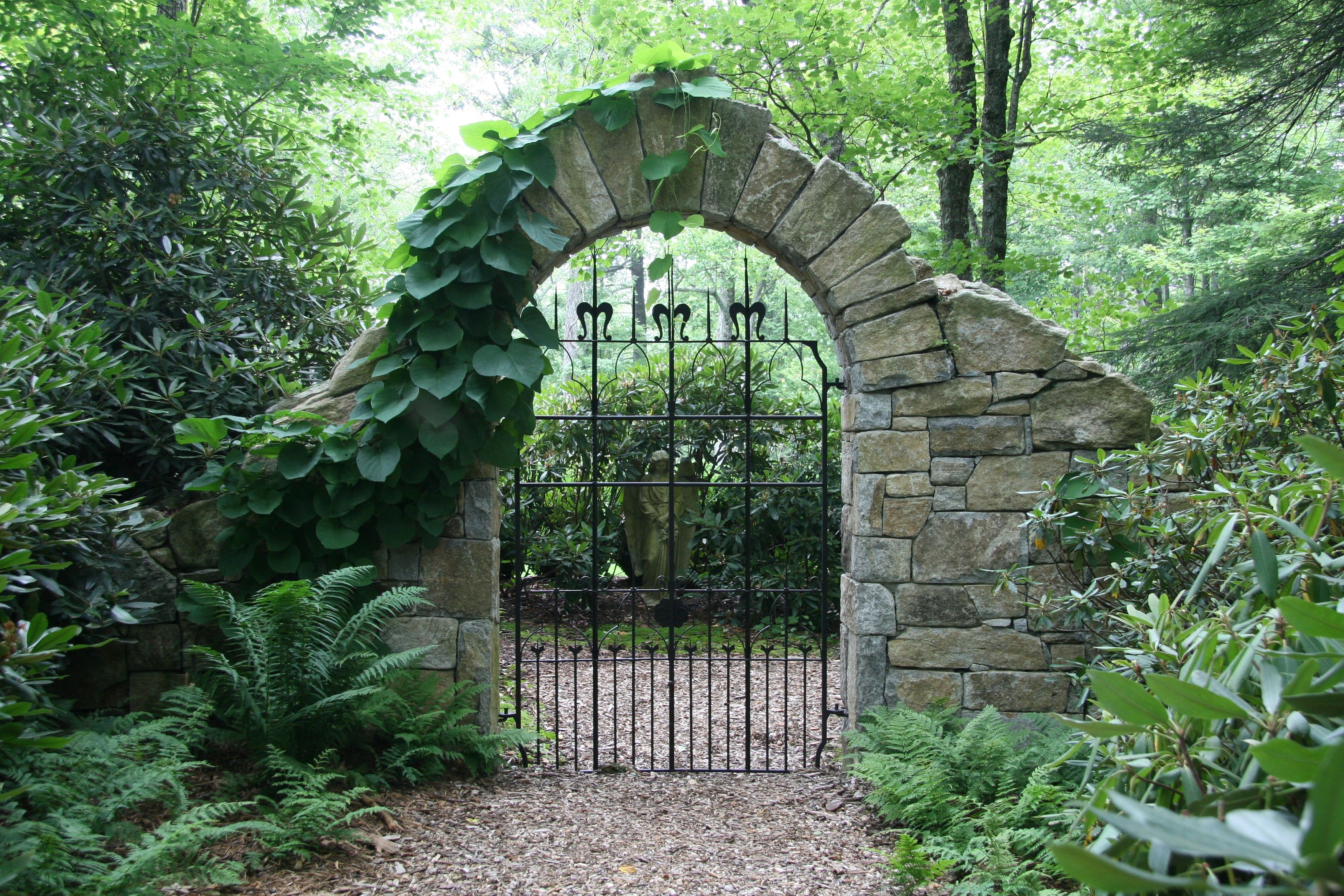 Stone Arch & Gate With Dutchmans Pipe