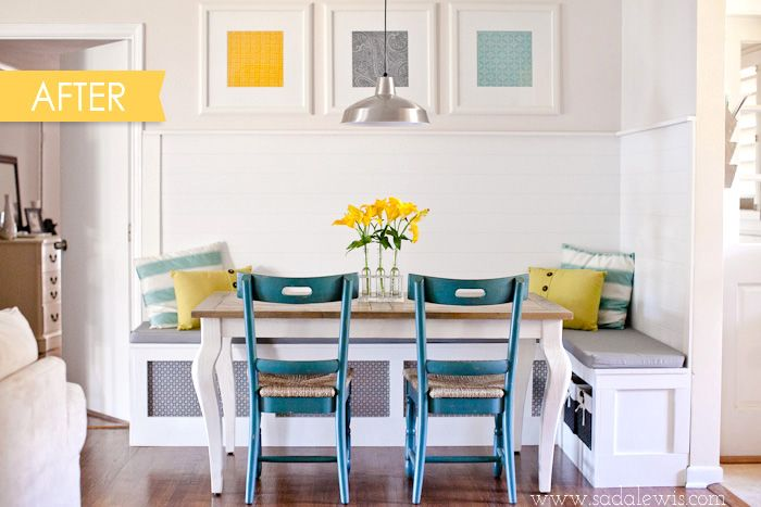 Great example of art prints pillows flowers fun seasonal built in bench diy kitchen banquette workwithnaturefo
