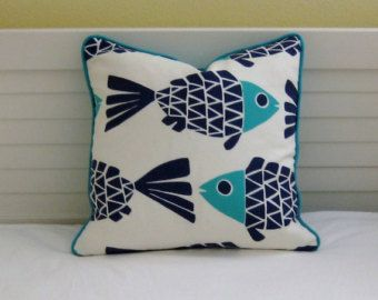 Go Fish Navy and Aqua Fish Design Indoor Outdoor Pillow Cover with ...