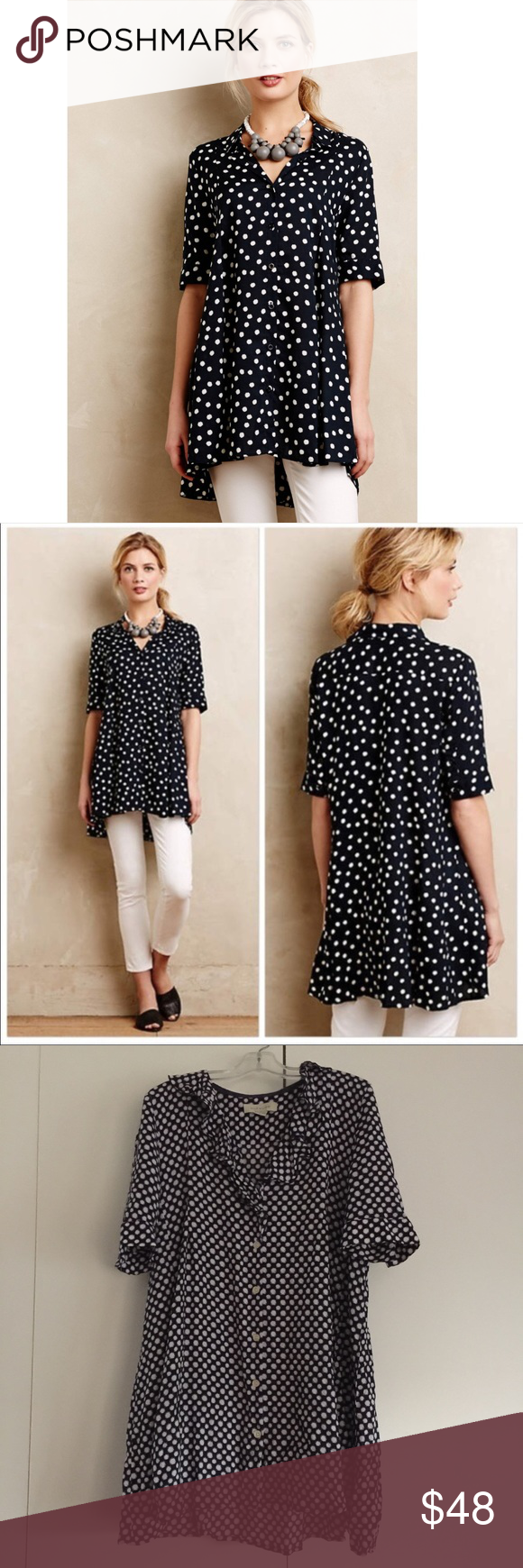 f614868536a3 Anthropologie 11:1 Tylho Adanne tunic -size XS Anthropologie 11:1:Tylho  Adanne tunic top Size XS Blue and white polka dot Button front Sleeve  button detail ...