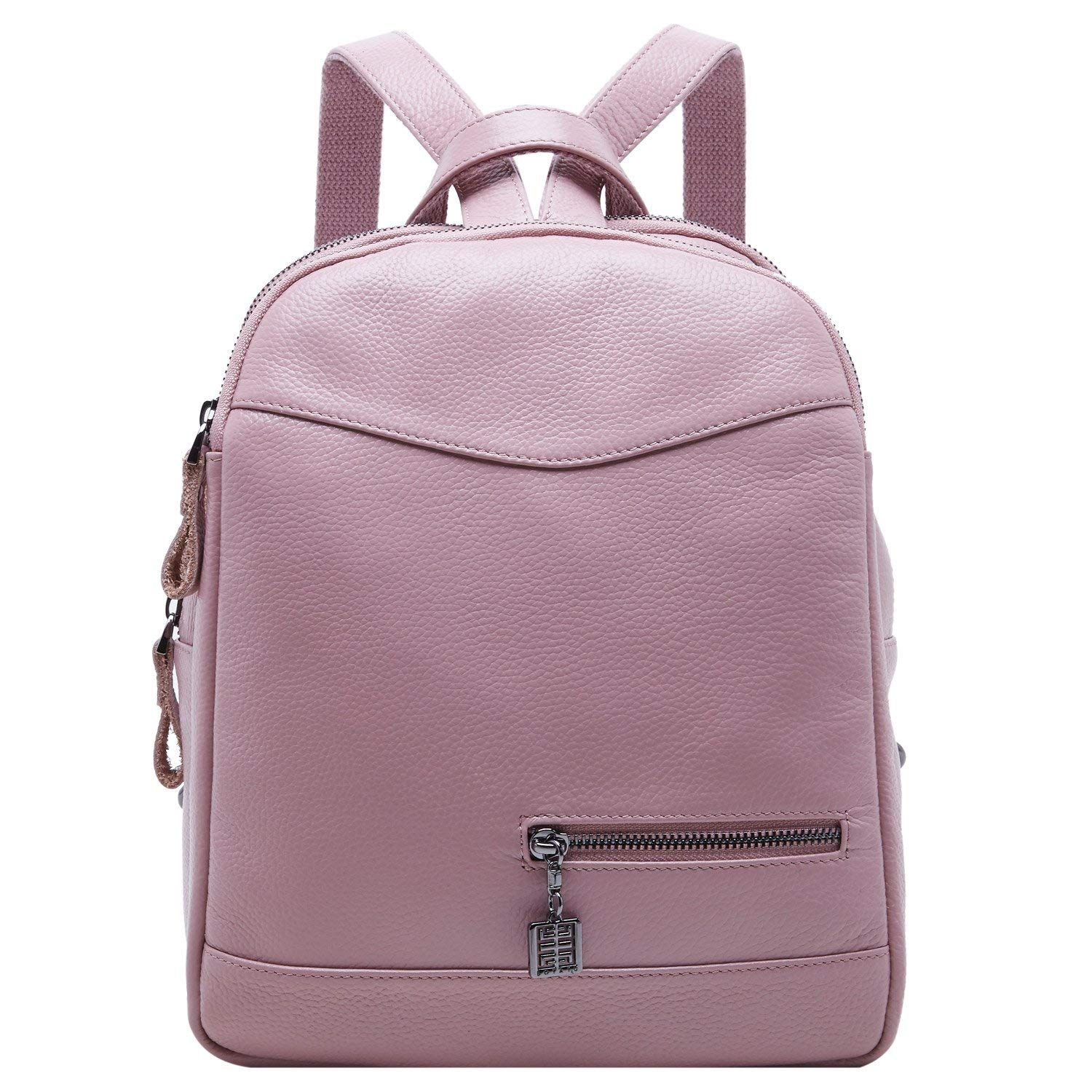 89e54f4cac BOYATU Genuine Leather Backpack Purse for Women School Bag Mini Travel  Rucksack (Pink)