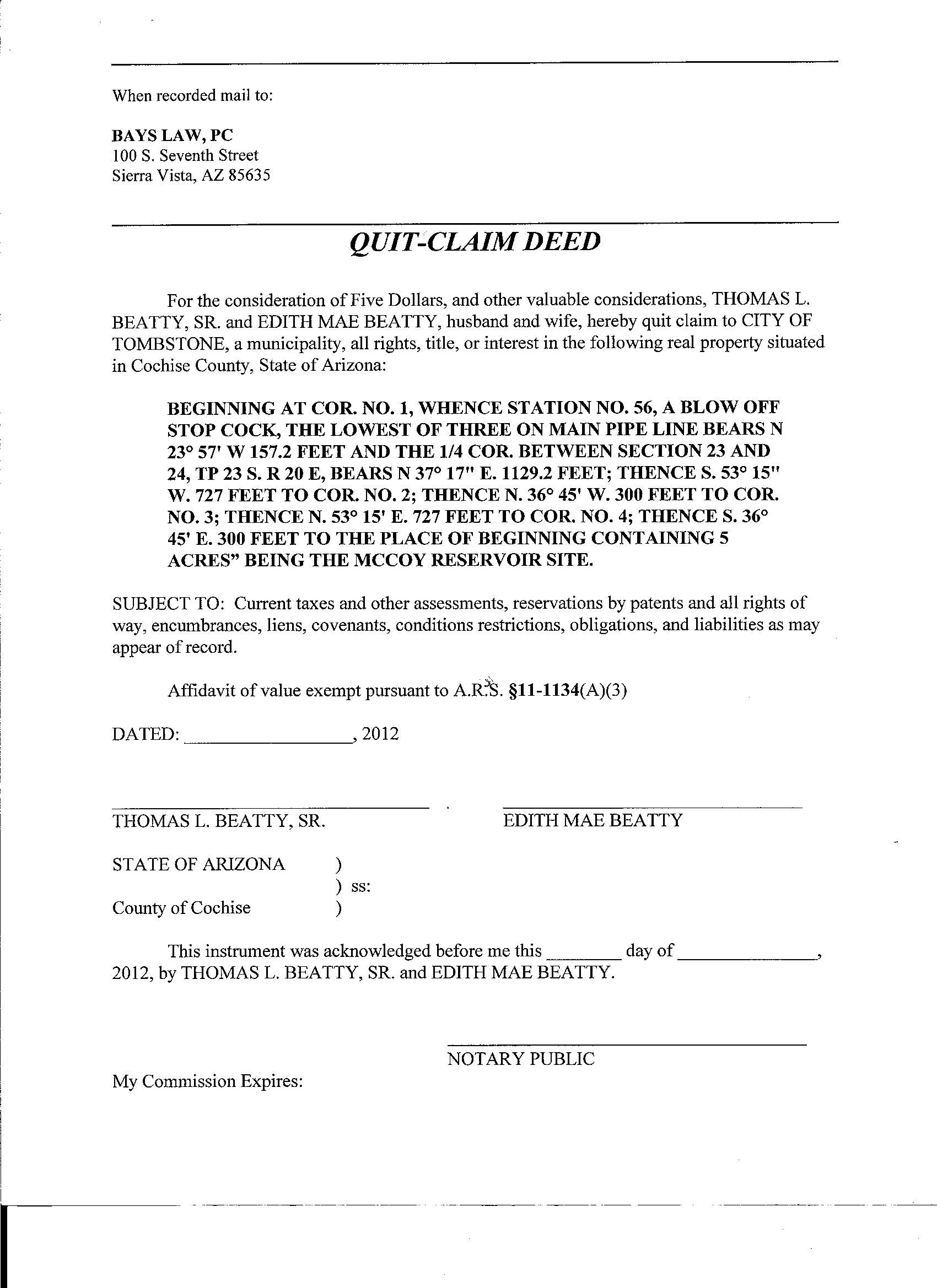 Quit Claim Letter Deed Filed Muskogee County Form Free Template