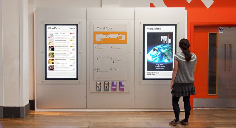 Science Museum Of London Digital Signage Incorporated With Wall