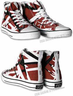 5a7b3708d9 I NEED THESE!!!! Eddie Van Halen red striped 5150 high top sneakers ...