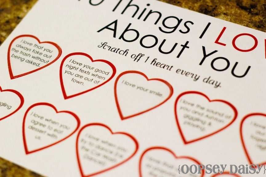 Ten things I love about you (Valentines, anniversary, birthday - printable anniversary cards for him