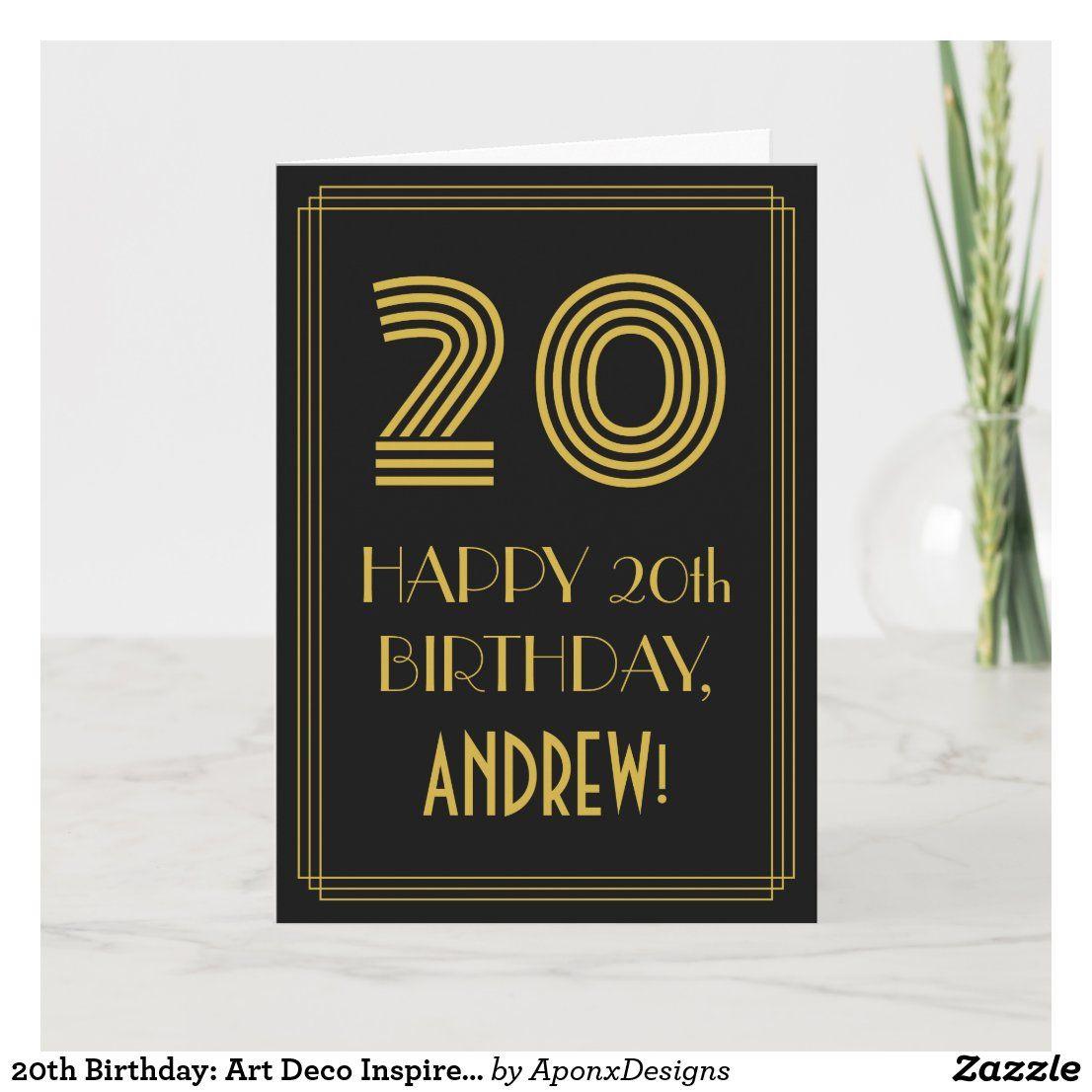 20th Birthday Art Deco Inspired Look 20 Name Card Zazzle Com In 2021 Art Deco Inspired Name Cards Happy 20th Birthday