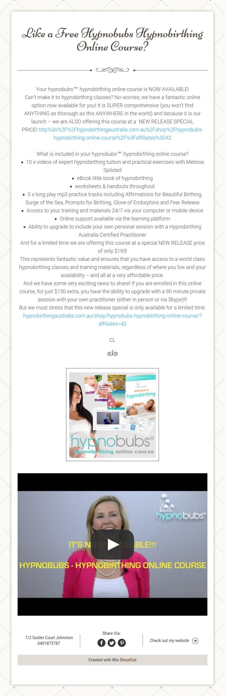 Like a free hypnobubs hypnobirthing online course