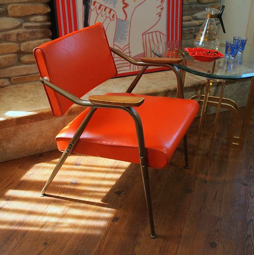Vintage Mcm Chair Mid Century Modern Bright Orange Knoll Style Atomic Mod  Spring Seat Arm Chair Reclining Back Bent Metal Steel Frame
